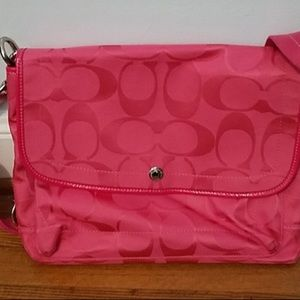 Coach Pink 'Kyra' Messenger Bag Excellent Used Con